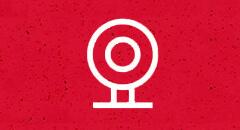 Изображена веб-камера, можно проводить вебинары